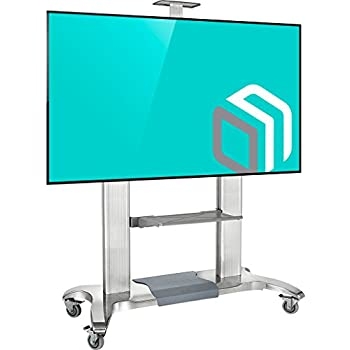 heavy duty mobile tv stand tv cart with wheels for 60 100 inch lcd led oled flat. Black Bedroom Furniture Sets. Home Design Ideas