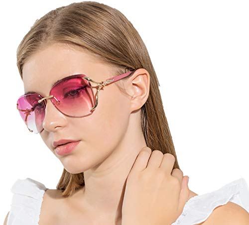 VOLCHINE Women Shades Sunglasses for Women Rimless Diamond Sunglass 100% UV Protection Eyewear VC1012 (Pink Lens/Pink Arm)