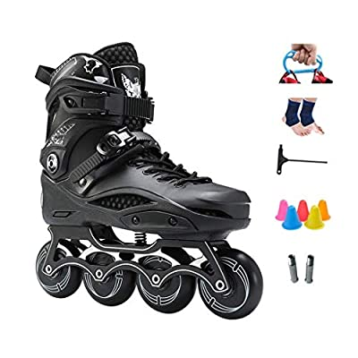 Sljj Outdoor Adult Beginner Performance Inline Skate, Speed Roller Skates for Boys Girls Black White (Color : Black, Size : 40 EU): Home & Kitchen