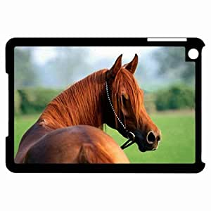 Customized Back Cover Case For iPad Mini Hardshell Case, Black Back Cover Design Horse Personalized Unique Case For iPad Mini