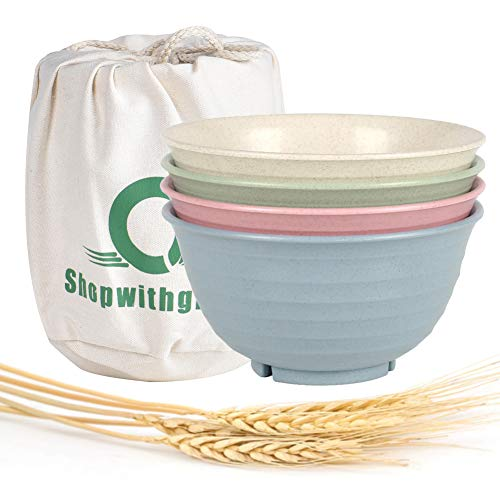 Shopwithgreen Unbreakable Large Cereal Bowls - 30 OZ Wheat Straw Fiber Lightweight Bowl Sets 4 - Dishwasher & Microwave Safe - for Cereal,Salad,Soup, Noodle, 4 Pieces (Unbreakable Soup Bowl)