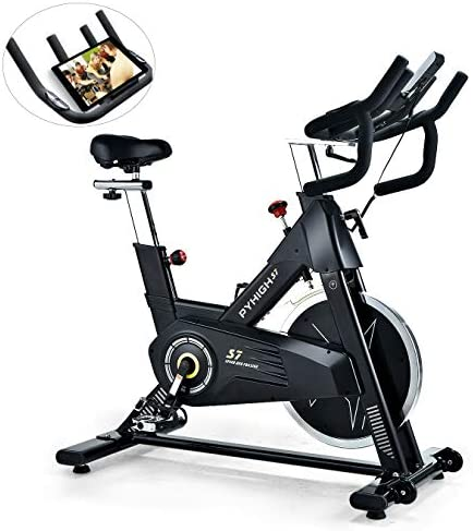 PYHIGH Indoor Cycling Bike-48lbs Flywheel Belt Drive Stationary Bicycle Exercise Bikes with LCD Monitor for Home Cardio Workout Bike Training- Black Black