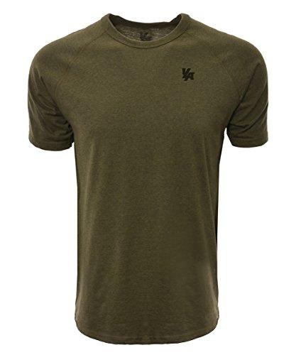 - YoungLA Workout Shirts for Men - Performance T-Shirts Short Sleeve Raglan 417 Olive Heather Large