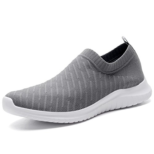 TIOSEBON Women's Walking Shoes Lightweight Mesh Slip-on- Breathable Running Sneakers 12 US Deep Gray