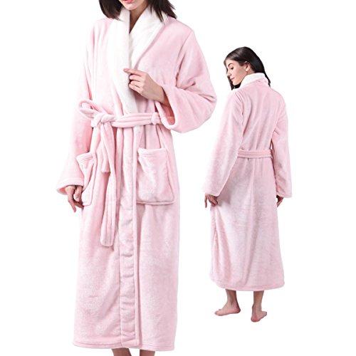 (Womens Fleece Flannel Plush Bathrobe, Shawl Collar Ladies Long Robes)