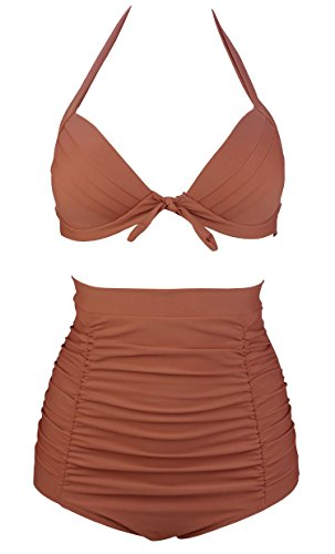 Brown Retro Elegant High Waisted Bikini Vintage Swimsuits Halter Bathing Suit XXXL(FBA) (Brown Halter)