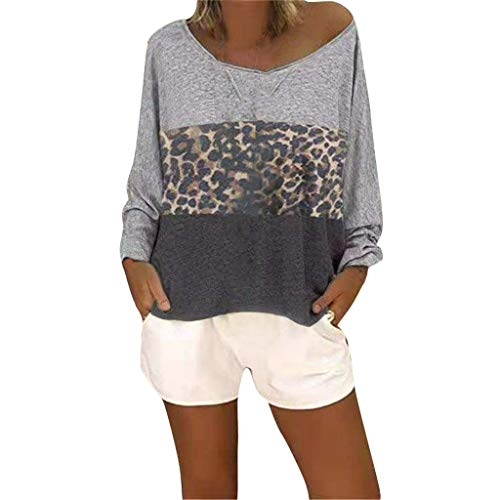 Londony❀♪ Women's Long Sleeve Patchwork Casual T-Shirts Blouse Tunic Tops Leopard Loose Fit Pullover Casual Top Gray