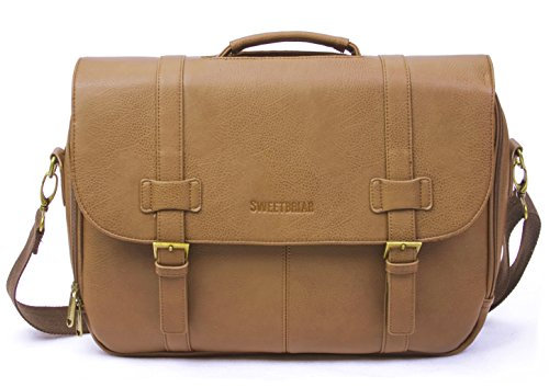 Sweetbriar Classic Laptop Messenger Bag, Tan - Vegan Leather Briefcase Designed to Protect Laptops up to 15.6 Inches