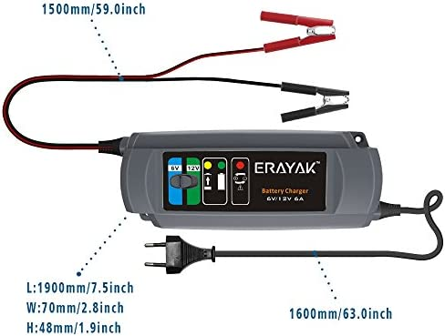 ERAYAK Battery Charger 6A switchable mode for 6V//12V battery fully automatic and Battery Desulfator with Temperature Compensation Battery Maintainer intelligent charger