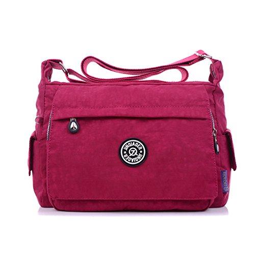 TianHengYi Womens Multiple Zipper Pockets Nylon Fabric Cross-body Shoulder Bag Light Sports Messenger Bag Red