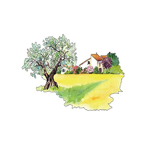 Hand Painted Field Tile - Personality Field Big Tree House Hand-Painted Creative Wall Sticker Background Wall Decorative Wall Sticker LMYLY