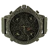Master Of Bling Iced Out Black Leather Band Black 4 Time Zone Watch