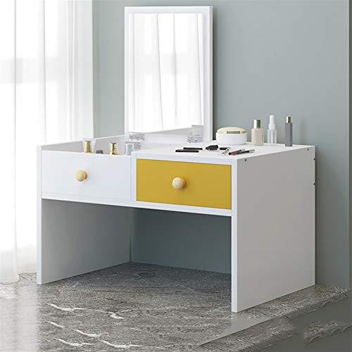 PNYGJDSZT Mesa de tocador de tocador de Roble nórdico con cajones y Joyas de Espejo Ms pequeña vanidad Maquillaje de tocador de Mesa de Dormitorio (Color : Yellow, Size : A)