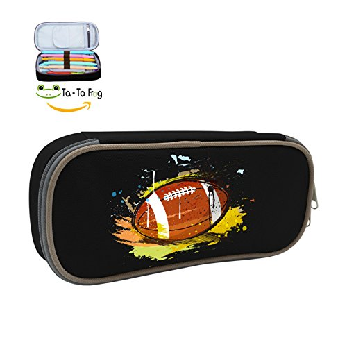 Cute Large Capacity Cool Canvas Pencil Case Pen Bag Hand Painted Rugby Student Black