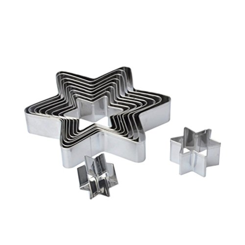 Cattrees 10 Star Shape Piece Stainless Steel Cake Molds Set Cookie Cutter,Biscuit Cutters Molds.