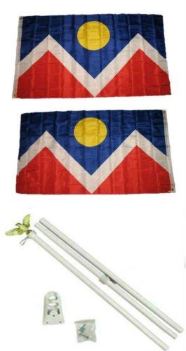Moon Knives 3x5 City Of Denver Colorado 2ply Flag White Pole Kit Set    Party Decorations