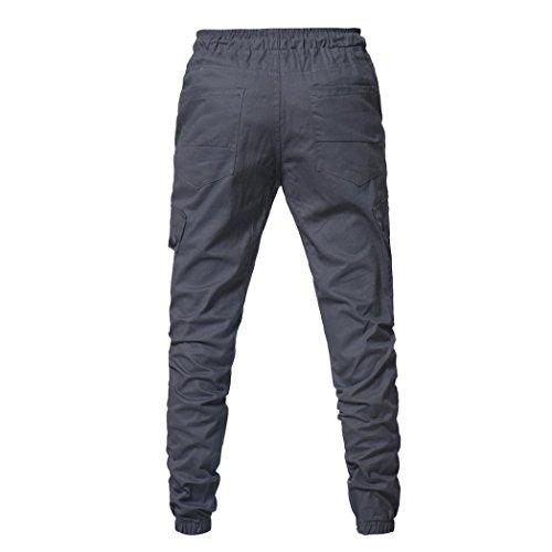 Con Grigio Larghi Sportivi Estivi pantaloni Uomo Fit Tascabili Coulisse Cargo Challenge Jogging Leggings Slim Jeans Lino Da Pantaloni Pantalone gax71wnqUf