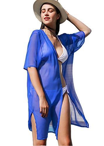 La Carrie Women's Chiffon Kimono Cardigan Cover Up with Half Sleeve Summer Sheer Beachwear Swimsuit for Bikini(Blue)