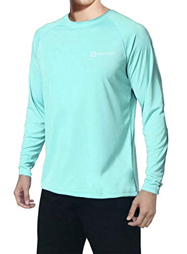 Pretchic Men's UPF 50+ UV Sun Protection Performance Long Sleeve Outdoor T Shirt Light Green Medium