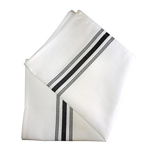 Ultimate Textile (5 Dozen) Stripe Bistro Napkins 18 x 22-Inch, Black by Ultimate Textile
