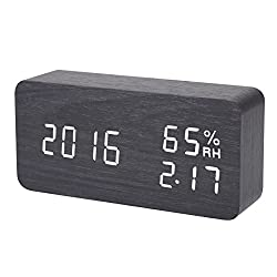 LED Alarm Clock,Hopesooky Wooden Digital Alarm Clock Sound Activated Display with Time Date Temperature Humidity (Black-White)