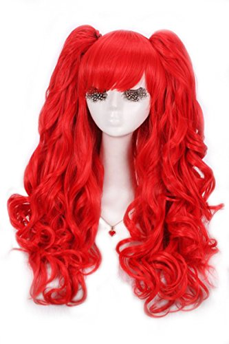 Lemail wig Gothic Lolita Long Curly Women Wave Colorful Cosplay Wig with Ponytails Full Wigs Rw137E (Red Ponytail Wig)