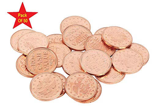 "Metal Copper Coins Pack of 50 Great as Tokens for Arcade Games or Prizes by MT Products - Size is Slightly Smaller Than a Quarter 0.900"" in Diameter"