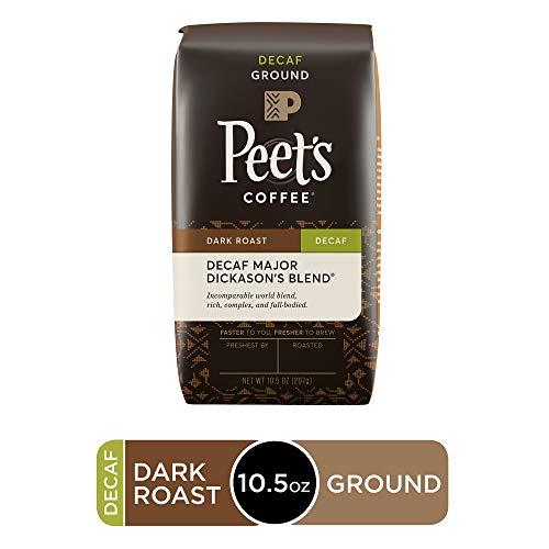 Peet's Coffee Decaf Major Dickason's Blend, Dark Roast Ground Coffee, 10.5 Ounce Bag, Decaffeinated (Coffee Beans Decaf)