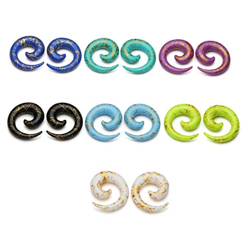 - PiercingJ 14pcs Set Mixed 7 Colors UV Acrylic Spiral Snail Tapers Plug Sizes 14G-3/4 Taper Ear Stretching Kit Ear Gauges Plugs Kit