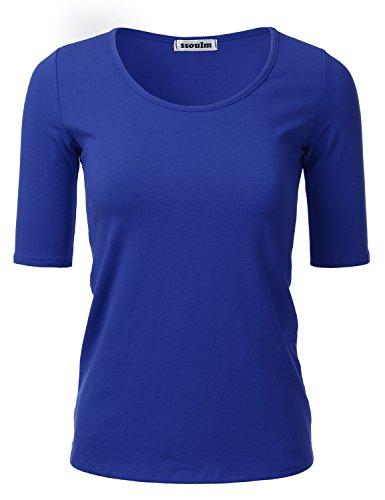 SSOULM Women's 1/2 Sleeve Crewneck Cotton Basic Slim Fit T-Shirt Top Cobalt M ()