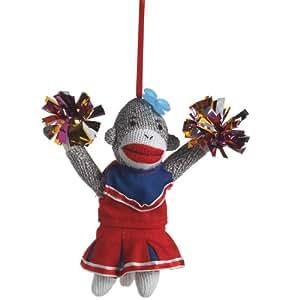 Sock Monkey Cheerleader Ornament