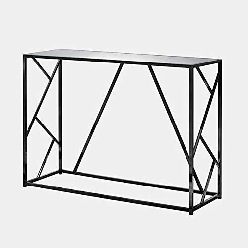 Metal Console Table with Glass Top - Rectangular Console Table - Black Nickel