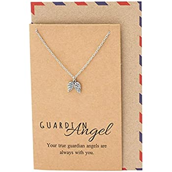 f95770034 Amazon.com: Quan Jewelry Guardian Angel Necklace with Greeting Card ...