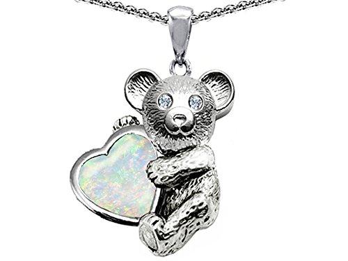 14k Heart Shape Slide (Star K Love Bear Hugging Birth Month of October 8mm Heart Shape Created Opal Sterling Silver)
