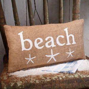 "Small Canvas Beach/Starfish Pillow (12x6"")"