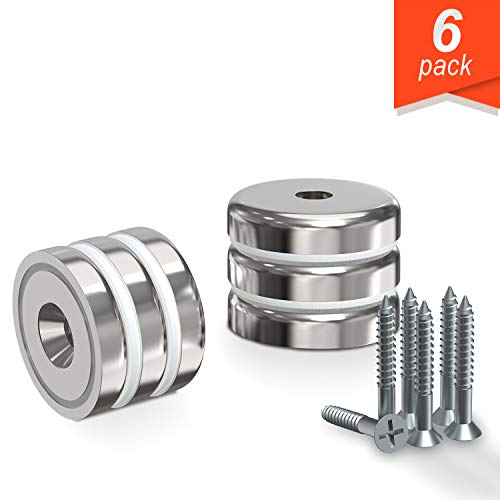 Super Strong Neodymium Cup Magnet 1.26 Countersunk Permanent Magnet, The Worlds Strongest & Most Powerful Rare Earth Magnets by Applied Magnets with Screws 6Pc