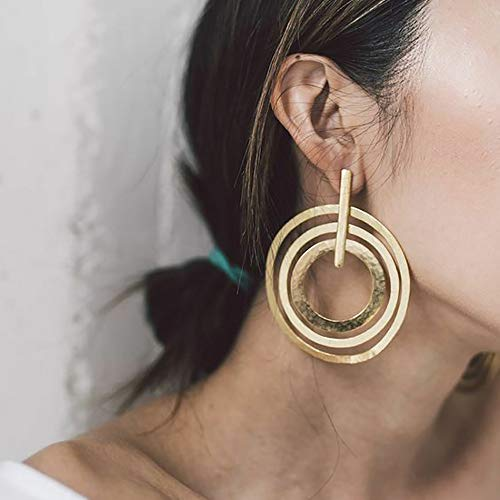 Doubnine Large Circle Hoops Boho Multi Loop Gold Silver Geometric Earrings Women Girls Jewelry Gift (gold)