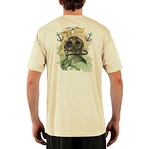 SAND.SALT.SURF.SUN. Vintage Diver Generic Men's UPF 50+ Short Sleeve T-Shirt Medium Pale (Short Sleeve Sun Life)