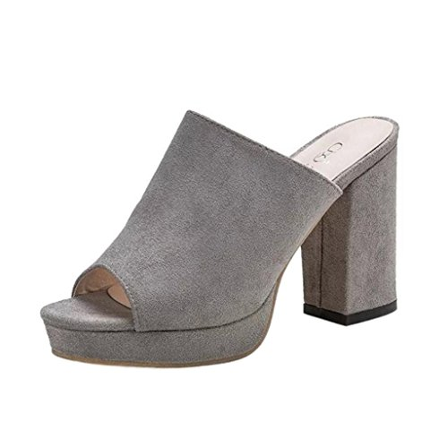 Inkach Womens Heeled Sandals - Fashion Ladies Flip-Flop High Heels Slipper Fish Mouth Shoes Gray