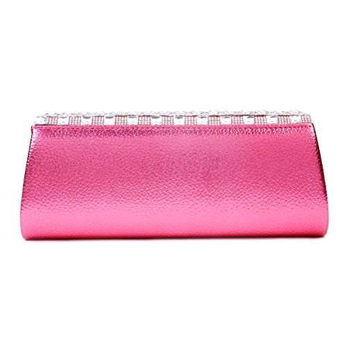 Diseño de diamante de imitación Damara de boda bolso de mano, color negro, talla large rojo - rosa