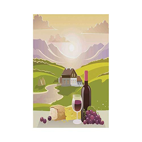 Polyester Garden Flag Outdoor Flag House Flag Banner,Winery Decor,Wine Cheese and Bread with Mountain Landscape in French Rurals Pastoral Scenery,Green Purple Cream,for Wedding Anniversary Home Outdoo
