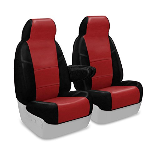 Coverking Custom Fit Front 50/50 High Back Bucket Seat Cover for Select Ford Excursion Models - Premium Leatherette 2-Tone (Red with Black Sides)