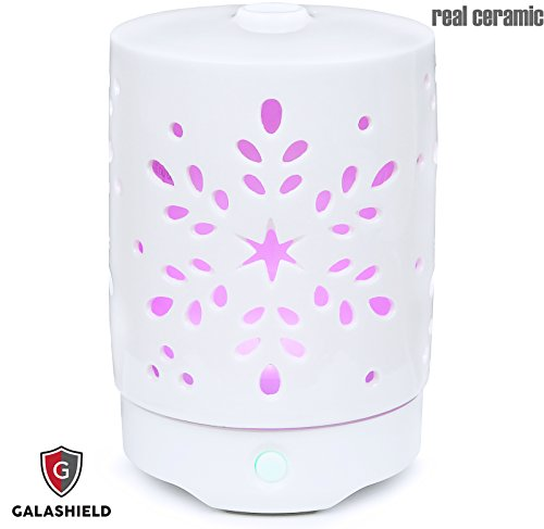(Galashield Aromatherapy Essential Oil Diffuser 120ml Humidifier with 9 Colors LED Lights and Mist Mode Auto Shut-off, Real Ceramic Stone)