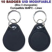 Lot de 10 badges RFID Mif 1K 13.56Mhz | UID (bloc 0) modifiable | Compatible libNFC Linux | T4U®