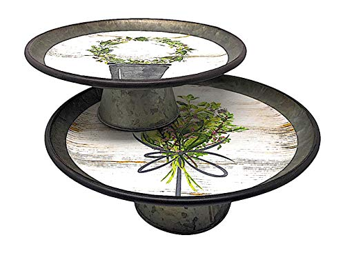 Melrose Metal Stand Decorative Single Tier Cake Cupcake Plants Wide Galvanized Rustic Distressed Set of 2 from Melrose Int