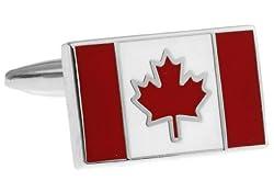 MRCUFF Canada Flag Pair Cufflinks in a Presentation Gift Box & Polishing Cloth