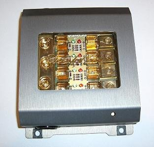 Phoenix Gold ZBB34TI, Fuse Distribution Block with Diagnostics Plug, Titanium Series, 1 to 4, for AGU Fuses, input: 3 cables - 1 Gauge (50mm²), output: 4 cables - 8 Gauge (10mm²) - 4 Gauge (25mm²), color: titanium