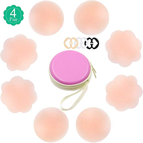 (YELO 4 Pairs Silicone Women's Pasties, Reusable Nipple Cover Adhesive Breast Petals)
