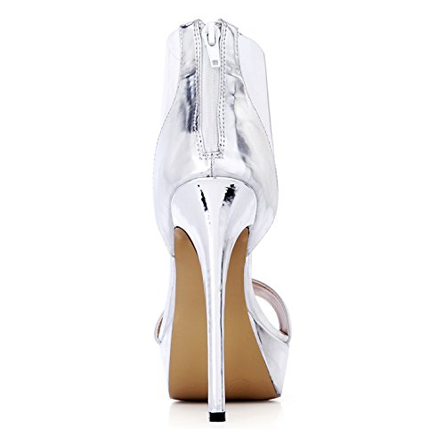 Sandali in Visualizza da da alti in e tacchi New primavera pranzo estate d'acqua Silver donna scarpe XwfSr0qnX