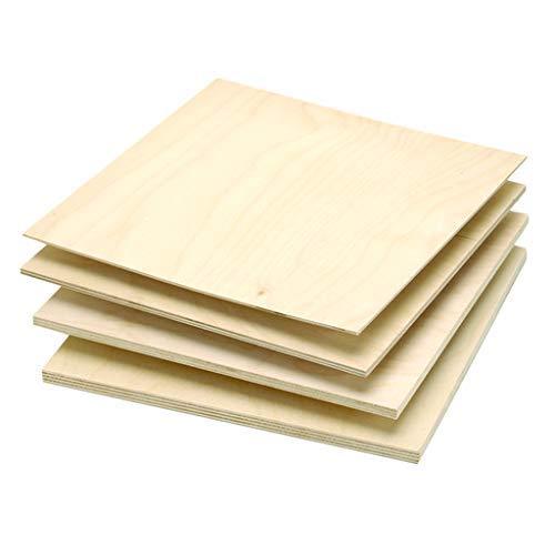 "3MM 1/8"" x 12"" x 12"" Premium Baltic Birch Plywood Box of 8 B/BB Grade Birch Veneer Sheets one Clear face"